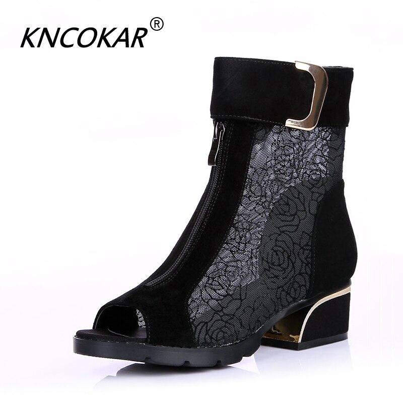 Sapatas das Mulheres novas botas fishbill midheel KNCOKAR moda malha chunky Sandálias gladiador rendas x1138
