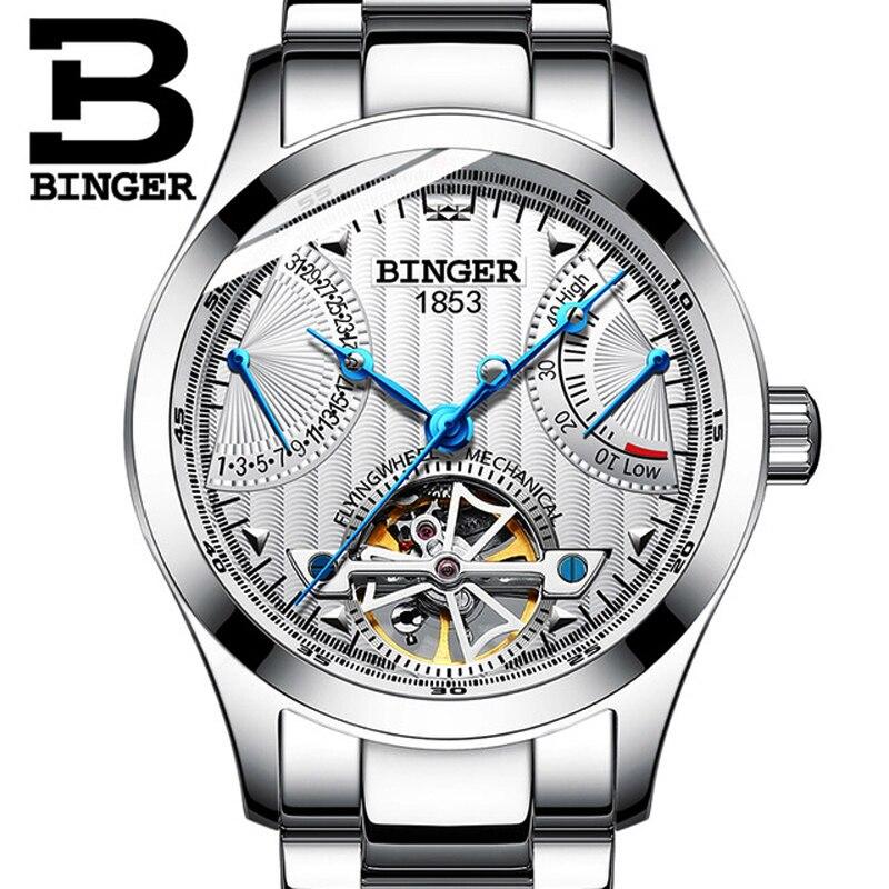BINGER Men's Watches Mens Watches Top Brand Luxury Automatic Mechanical Sport Watch Men Wirstwatch Tourbillon Reloj hombres 2019