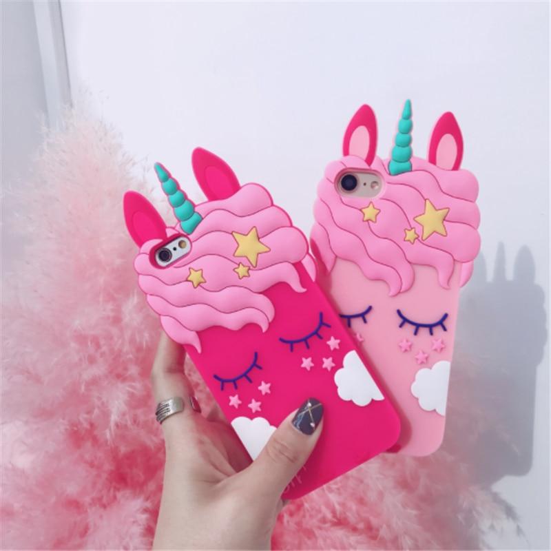 Funda de goma de silicona blanda 3D dibujo unicornio Rosa gato carcasa para iPhone 6 6s 7 8 Plus X para Samsung S8 S7 Edge