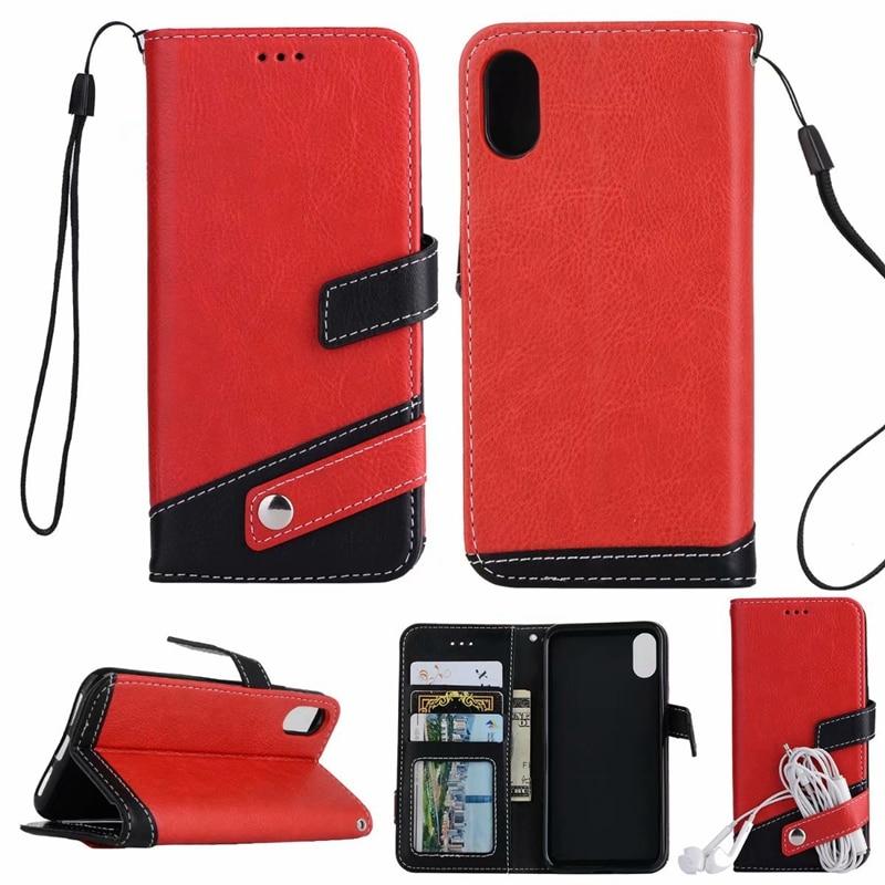 Para iphone 5 5S 6 6S 6plus 6splus Flip Wallet PU costura Funda de cuero para iphone 7 7 plus 8 X soporte de teléfono