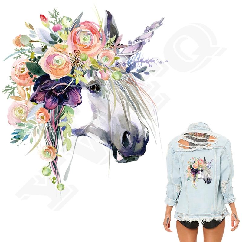 Autocollant patch aquarelle licorne   Imprimé, sur T-Shirt vêtements, décoratif, nouveau Design, accessoires, transferts sur soi-même