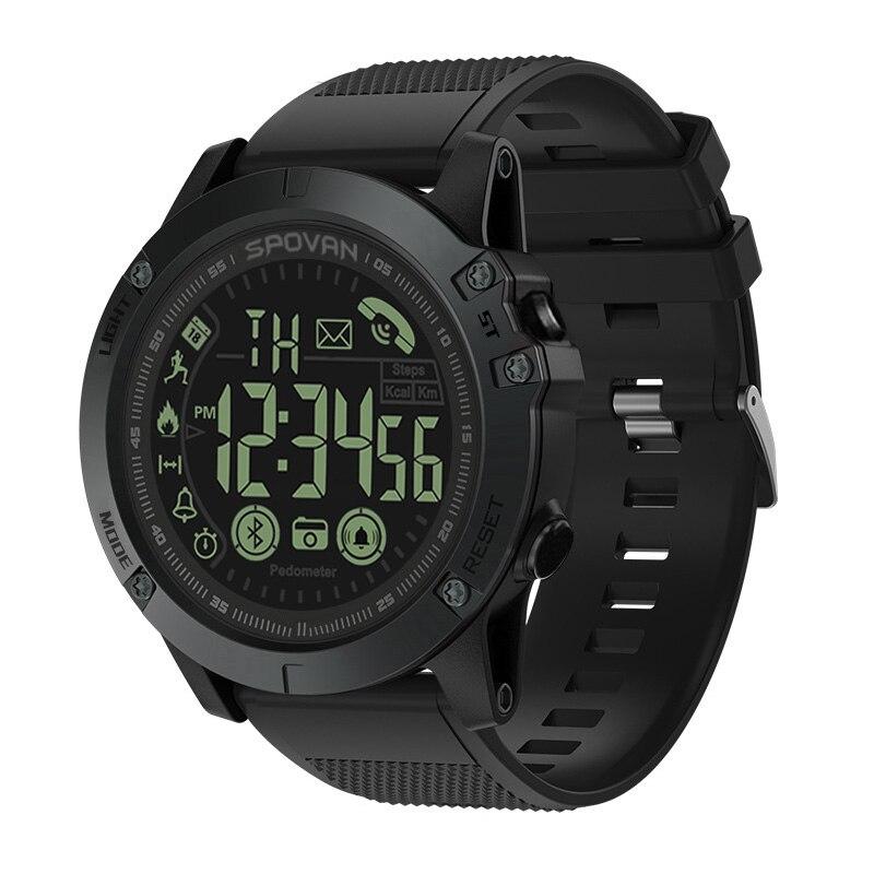 Spovan, Reloj deportivo de marca superior, calidad militar negra, calidad militar, Reloj de pulsera de plástico con Bluetooth, Reloj de pulsera A prueba de agua para Mujer