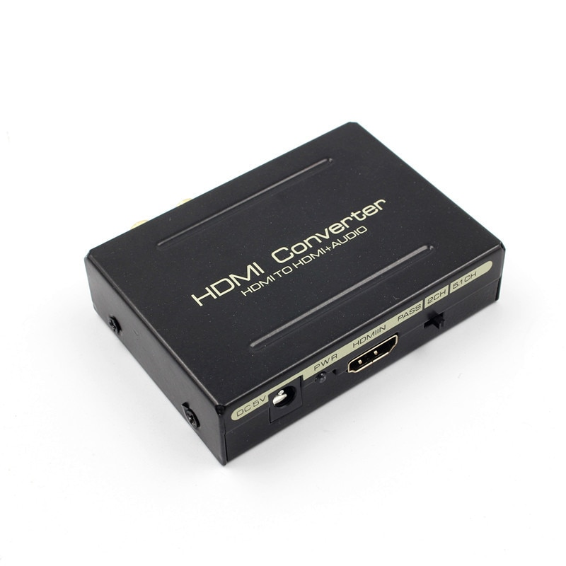 HDMI Audio Extractor HDMI a HDMI SPDIF + RCA L/R convertidor adaptador de divisor de Audio con la UE enchufe DC adaptador de corriente de 5 V