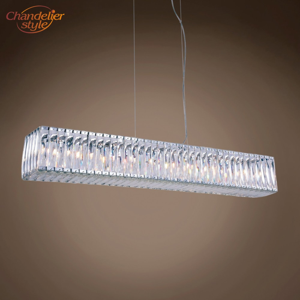 Modern Linear Crystal Chandelier Lamp Light Lighting Luxury Chandeliers Hanging Fixture for Home Restaurant Dining Room Decor  - buy with discount