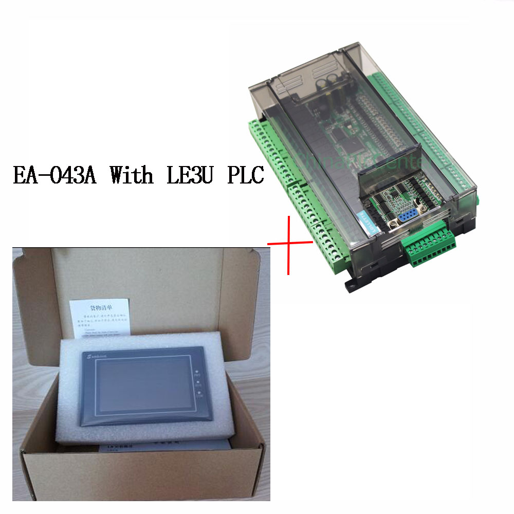 LE3U FX3U سلسلة PLC وحة التحكم الصناعي مع DB9 الاتصالات خط + Samkoon EA-043A HMI اللمس شاشة 4.3 بوصة