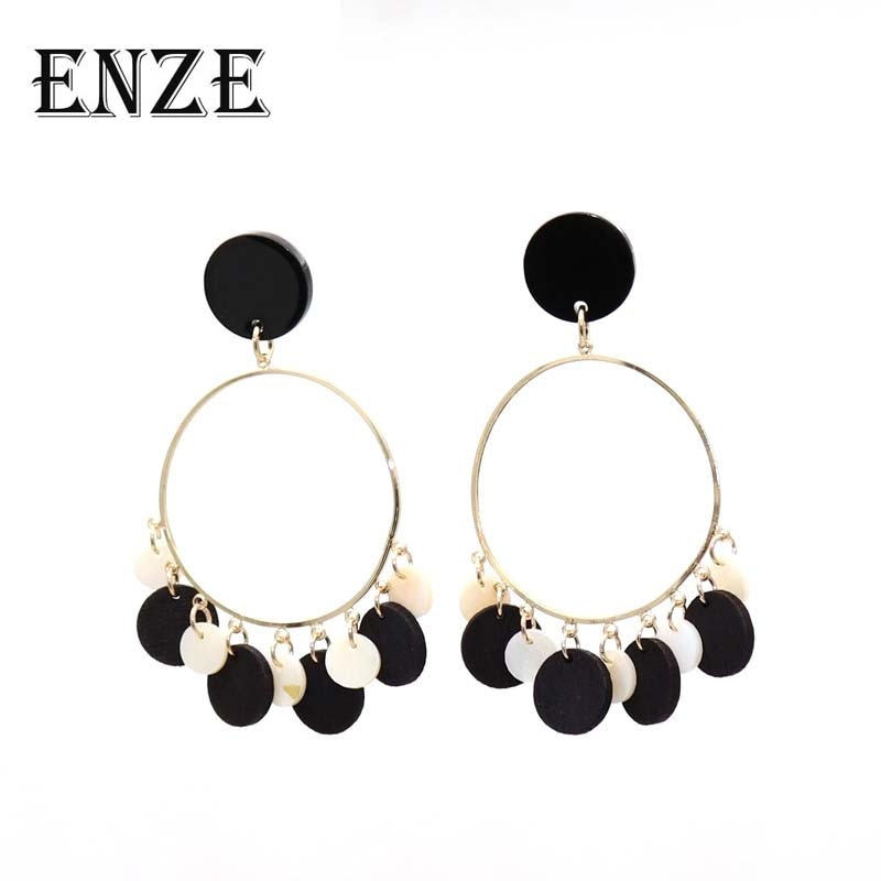 Frete grátis Novo produto popular jóias Pedra preta Rodada Madeira composição Shell brincos de Pingente de moda para as mulheres Acessó