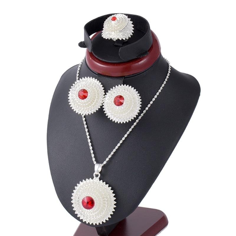 Piedra Roja Etíope de juegos de joyas para mujer collar pendiente Habesha brazaletes de oro boda Africana conjuntos de joyas de novia