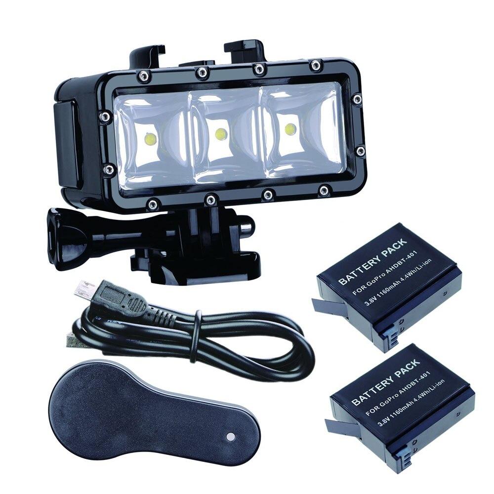 Go Pro-مصباح غوص Led ، ضوء فلاش تحت الماء 30 متر (2 × hero4) لكاميرا GoPro Hero 6 5 3 لجلسة Xiaomi yi 4K lite SJCAM sj4000