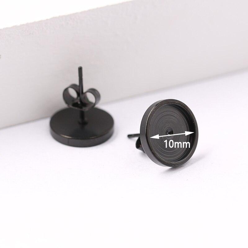 Onwear 10pcs preto de aço inoxidável parafuso prisioneiro base de brinco 10mm de diâmetro bandeja diy brincos configurações do painel frontal cabochão em branco para fazer jóias