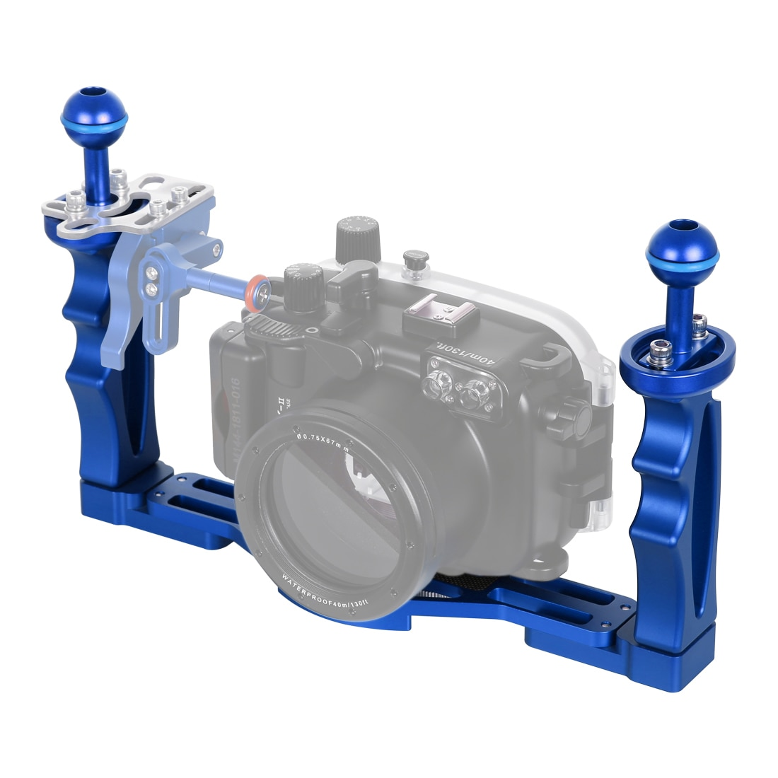 PULUZ Dual Handles Aluminium Alloy Tray Stabilizer for Gopro Action Camera Mobile Phone Underwater DSLR Digital Camera Housings