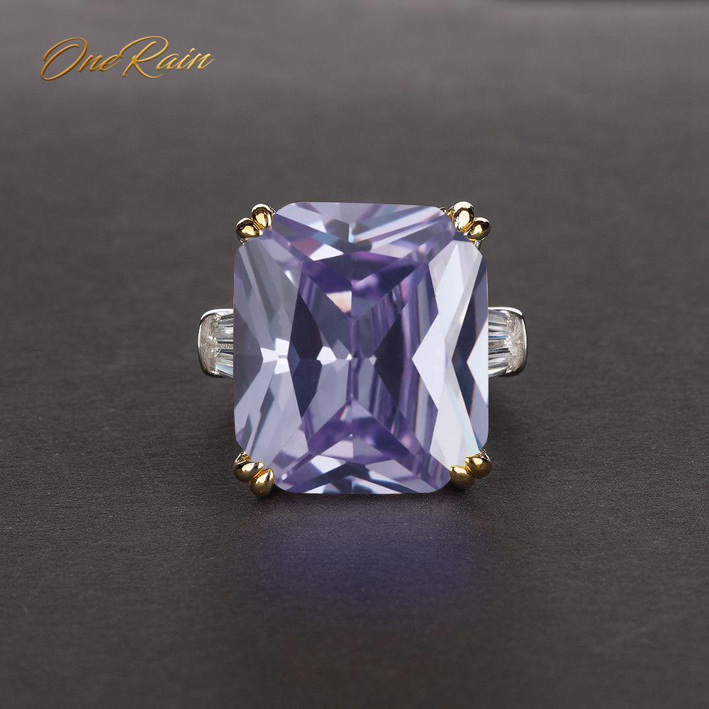 OneRain Classic 100% Plata de Ley 925 PIEDRA DE zirconía cúbica compromiso boda pareja de anillos bisutería tamaño al por mayor 5-12