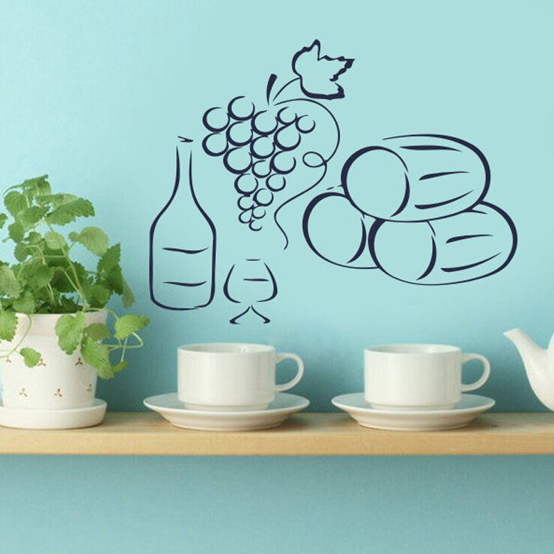 Grapes A Bottle Of Wine Wall Decals Home Kitchen Decor Interior Design Vinyl Decal Sticker Art Mural
