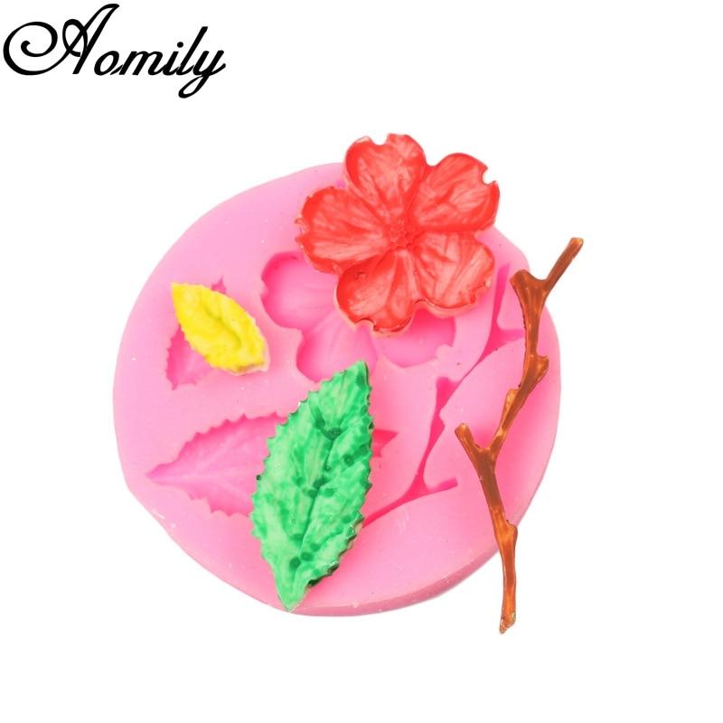 Aomily 3D Pfirsichblüte Kuchen Fondant Silikon Schimmel DIY Handgemachten Cookies Schokoladenform Küche Kuchen Dekorieren Tools Backformen