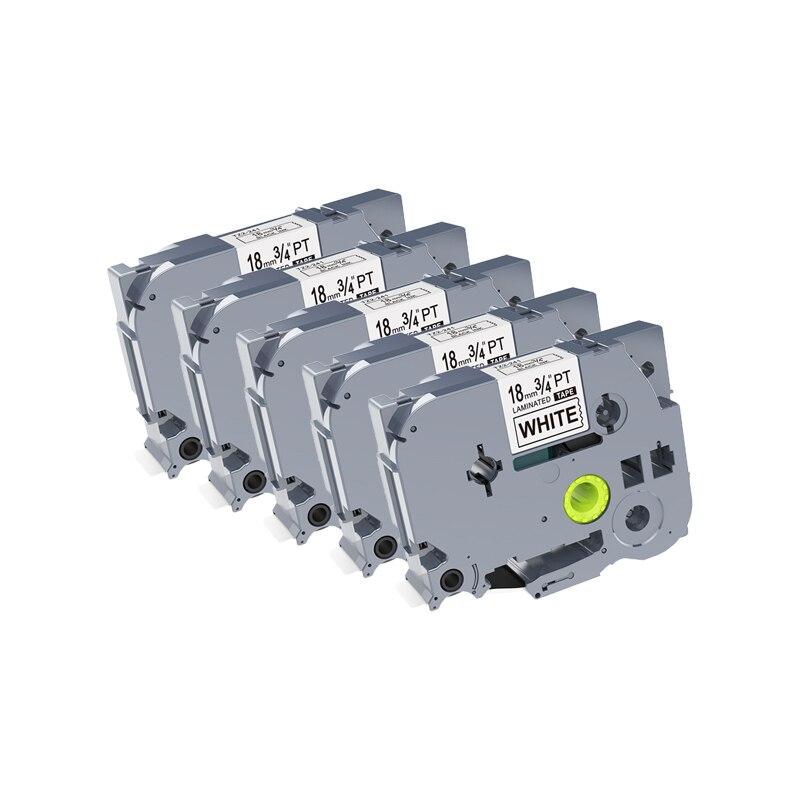 5 uds PUTY 18mm tze Tape Tze-241 tze241 negro sobre blanco cintas de etiquetas compatibles con impresora de etiquetas Brother PT-E550W PT-P900W p-touch