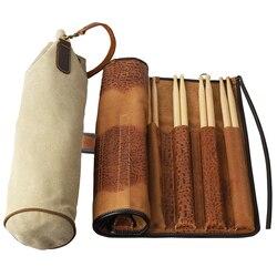 Pdh profissional grande capacidade tambor varas titular saco de armazenamento portátil caso bolsa titular durável couro e lona materiais