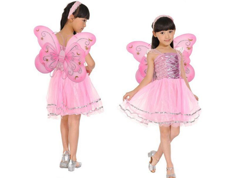 Kids Halloween Costume girl birthday party Butterfly Fairy Skirt Colorful dance skirt Fancy dress set  Headband Wing Magic Wand