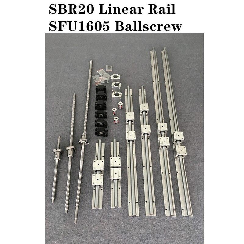 6 مجموعة SBR20 -300/400/700 مللي متر دليل خطي السكك الحديدية + 3 مجموعة SFU1605 - 350/450/750 مللي متر Ballscrew مجموعة + 3 مجموعة BK/BF12 CNC أجزاء