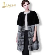LVCHI Shuba coat cloak style Winter women coats Silver Gray Fox Wool cloak Patchwork skirt Fur Coat Zipper Overcoat Women Furs