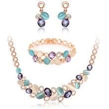 Misananryne Vrouwen Goud Kleur Oostenrijkse Kristal Classic Ketting Armband Oorbellen Ring Bruiloft Sieraden Sets Vrouwen Gift