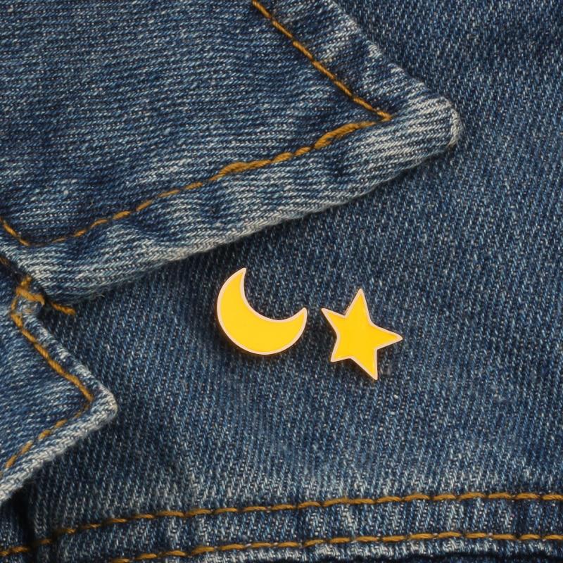 2 шт./компл., высокое качество, модная мультяшная брошь с Луной и звездочкой, декоративные заколки, эмалированные нагрудные штыри, знак, одежд...