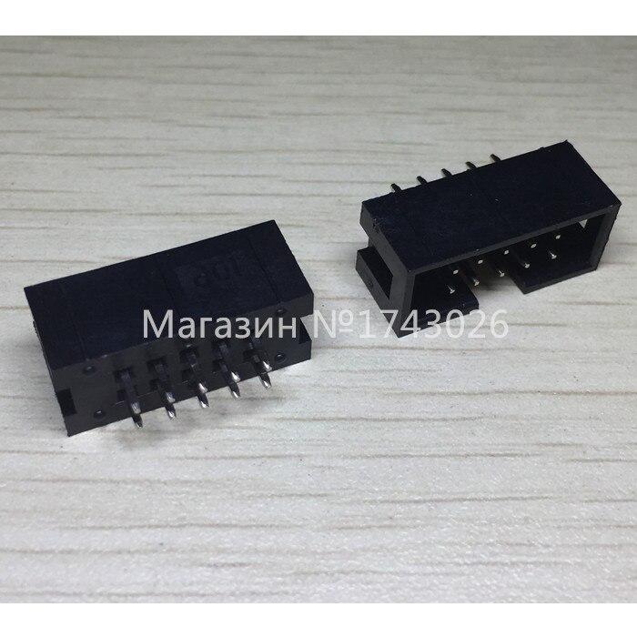 Gratis Pengiriman 50 teile/los DC3-10P 2*5 P 2,54 MM ISP kupfer nadel sitzabstand einfache horn download-schnittstelle buchse JTAG IC...