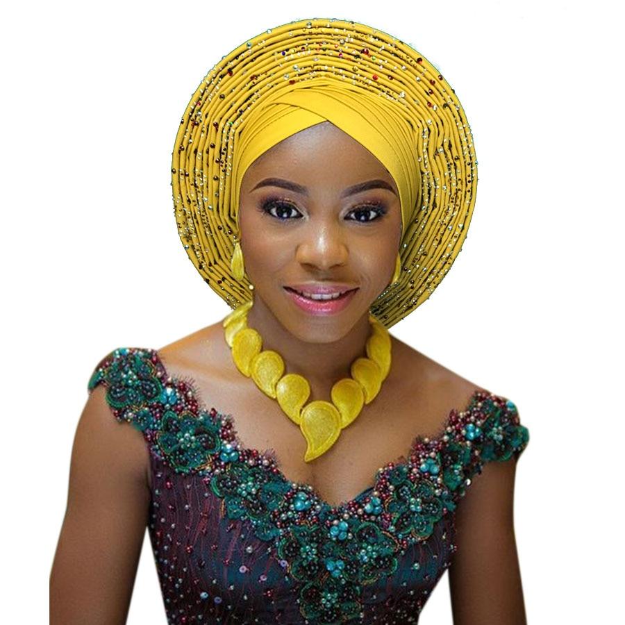 Lazo Africano para la cabeza, corbata nigeriana para la cabeza, lazo para la cabeza de gele, turbante africano a la moda, turbante con tachuelas, corbata africana