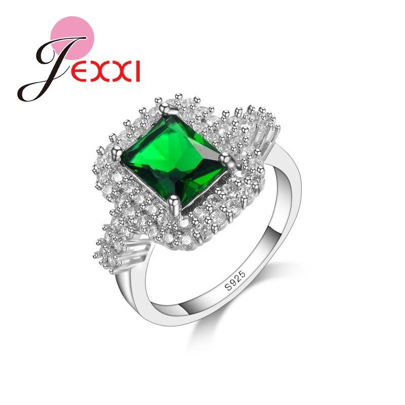 Роскошные большие квадратные зеленые блестящие CZ свадебные украшения для девочек, модные кольца, аксессуары для помолвки для дам