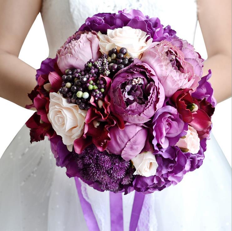 Romantic French Style Purple Bridal Bouquet Wedding Flowers Artificial Silk Ribbon Lace Holding Bridesmaid Bouquet hochzeit New