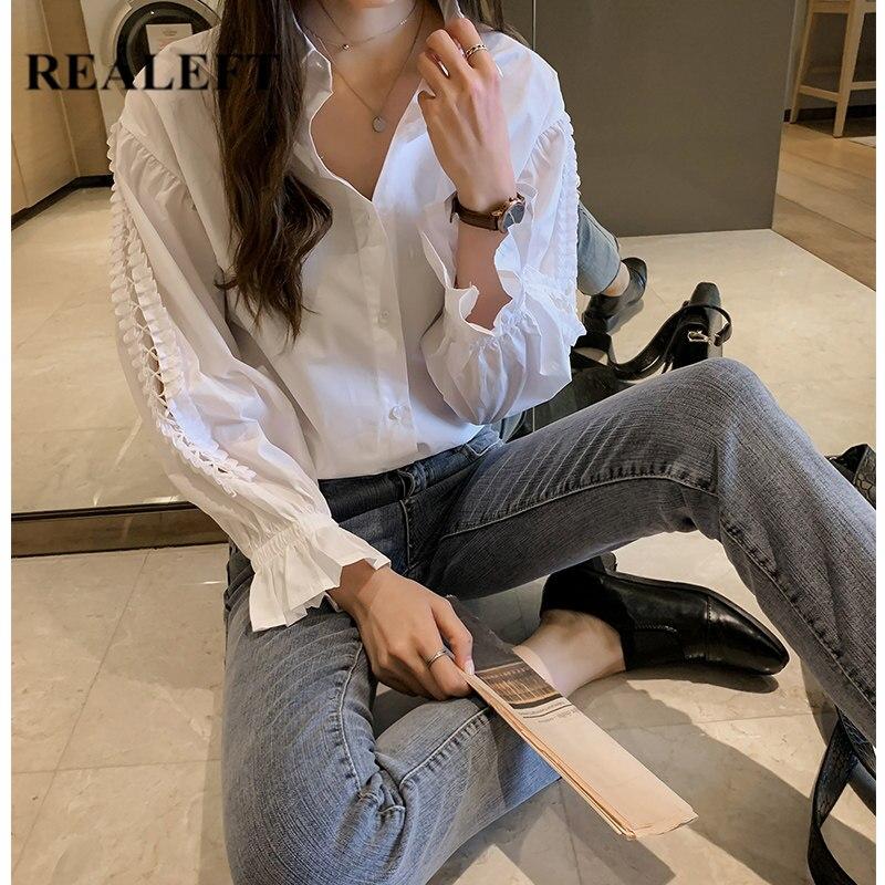 REALEFT nueva llegada mujer blanco ahueca hacia fuera Blusa de manga larga cuello vuelto moda suelta Oficina camisas Tops mujer plus tamaño