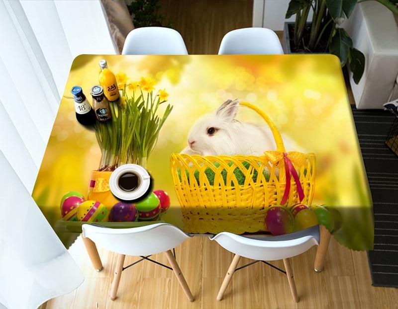 Mantel 3D patrón de dibujos animados bonito little rabbit people mantel impermeable boda Mesa Redonda Funda personalizada