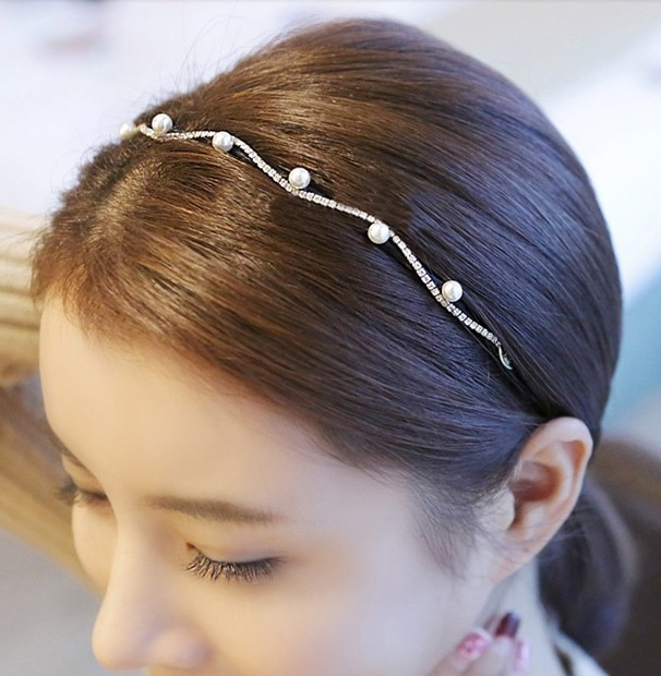 AliExpress - Lady Girls Pearl Wave Crystal Leaves Hairband Headband Crown Headwear Hoop Hair Band Accessories