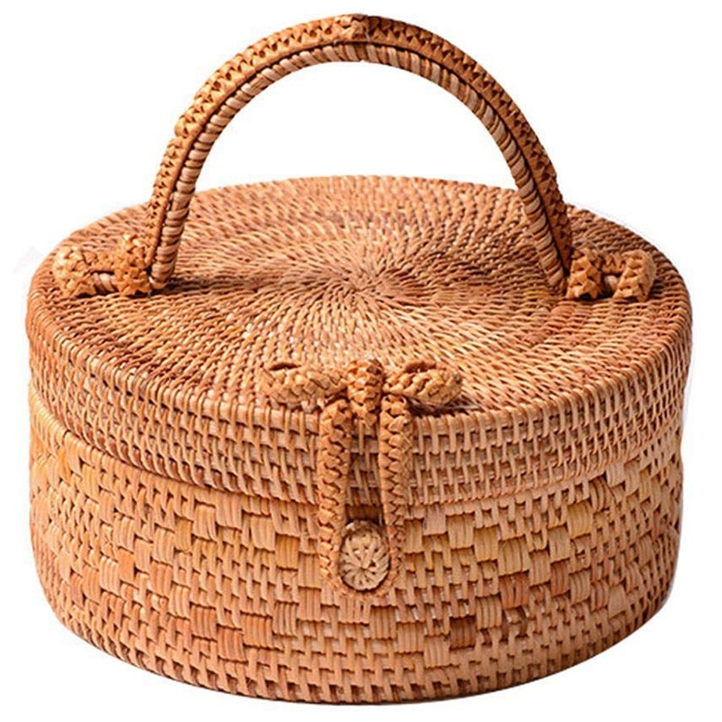 Rattan Bag For Women, Fashion Handmade Wicker Woven Purse Round Rattan Bag Bamboo Rattan Bag For Summer Beach Sea Vacation Bes