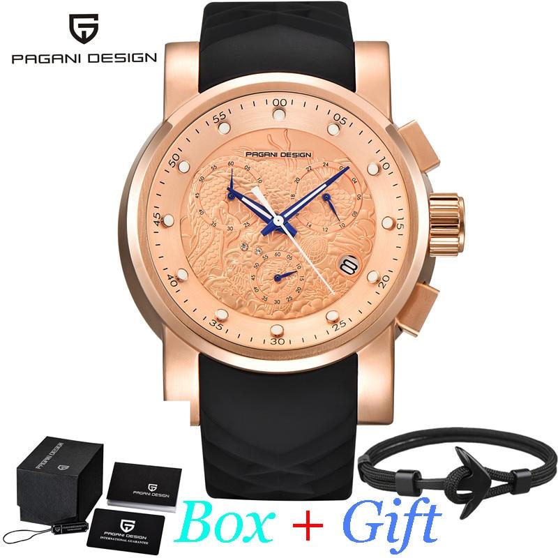 Reloj deportivo PAGANI DESING de lujo resistente al agua con correa negra de silicona y esfera de oro rosa para hombre