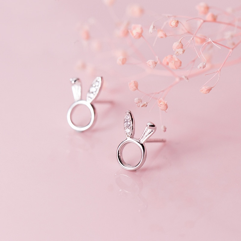 MloveAcc 100% maciza 925 Joyería de plata de ley auténtica moda lindo hueco Animal pendiente de aro de conejo regalo para chica adolescentes Dama