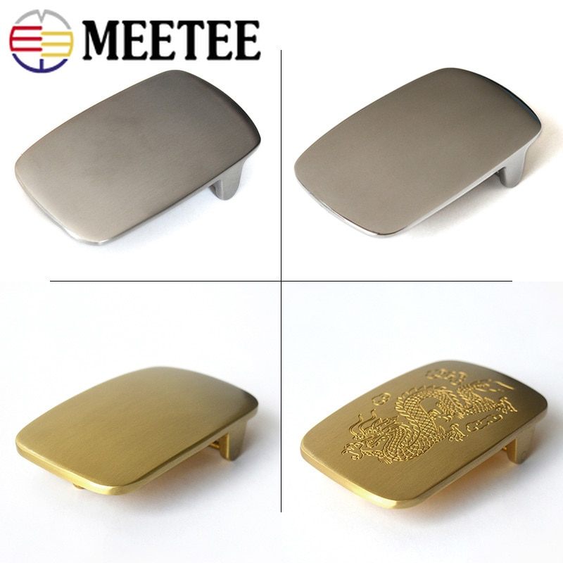 Meetee 1pc/2pc ID39mm High-grade Stainless Steel Brass Men Belt Buckles for 37-38mm Belt Head DIY Jeans LeatherCraft Accessories