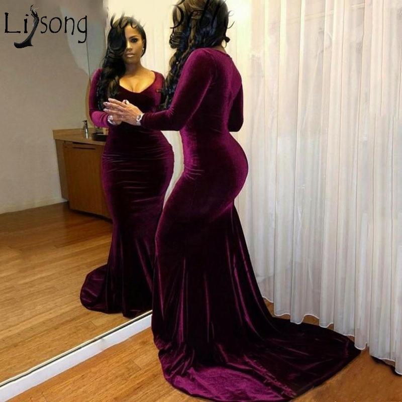 Sexy Plus Size Velvet Prom Dresses Black Girls Long Sleeves Mermaid V-neck Formal Party Dress Court Train Long Evening Dress