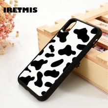 Iretmis 5 5S SE 6 6S TPU Souple En Caoutchouc De Silicone housse de téléphone pour iPhone 7 8 plus X Xs 11 Pro Max XR Vache Imprimé Noir Blanc