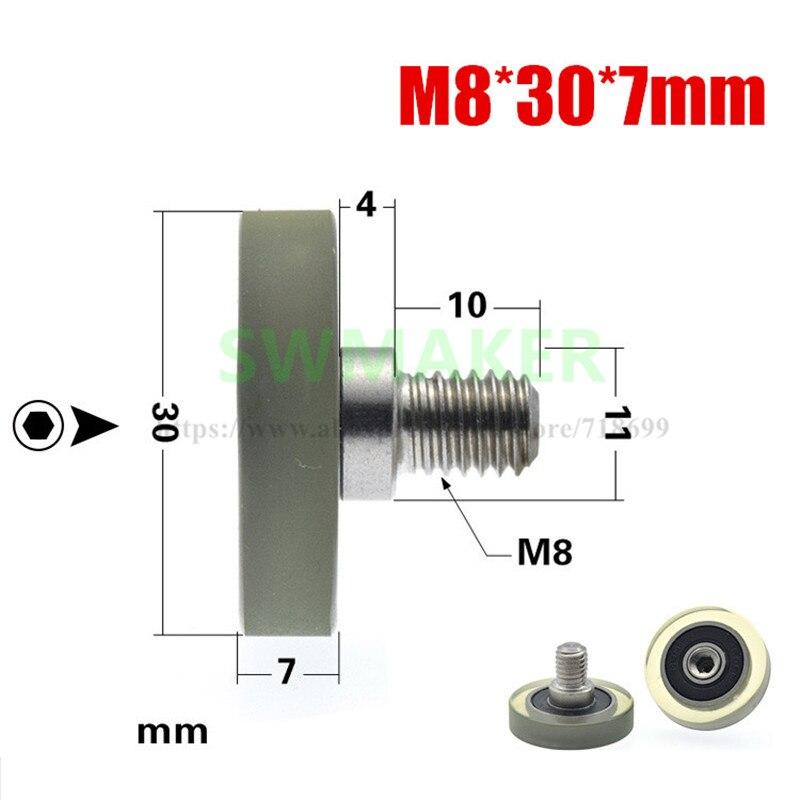 1 Uds 8*30*7mm M6 * 30*7mm M8 * 30*7mm 608 cojinete, rueda plana pegada, cinta transportadora, rueda de goma flexible de poliuretano