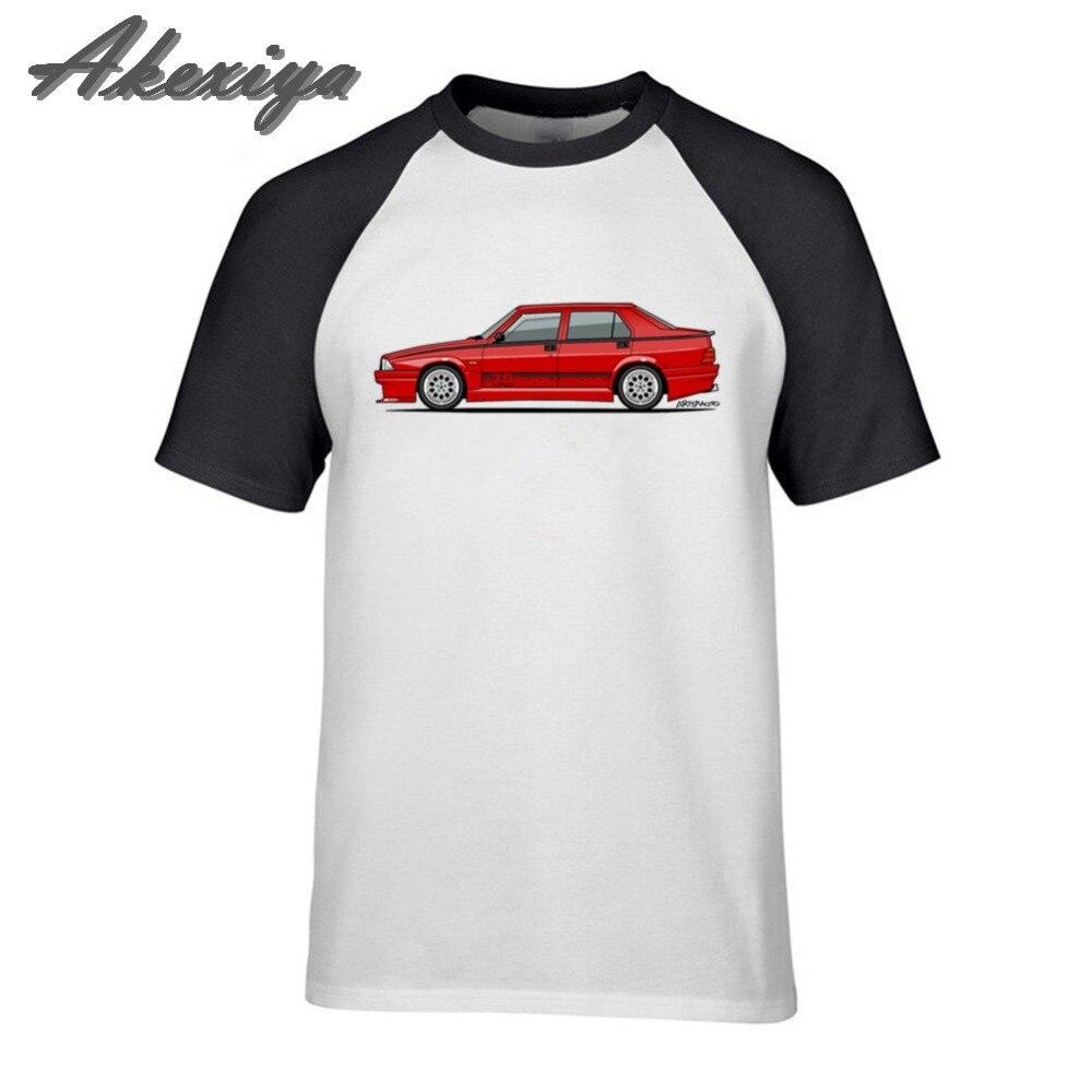 Alfa Romeo 75 Milano tshirt  black metal Turbo Evoluzione Rosso O-Neck Hipster Cotton Punk Mens T Shirts Fitness Clothing Top