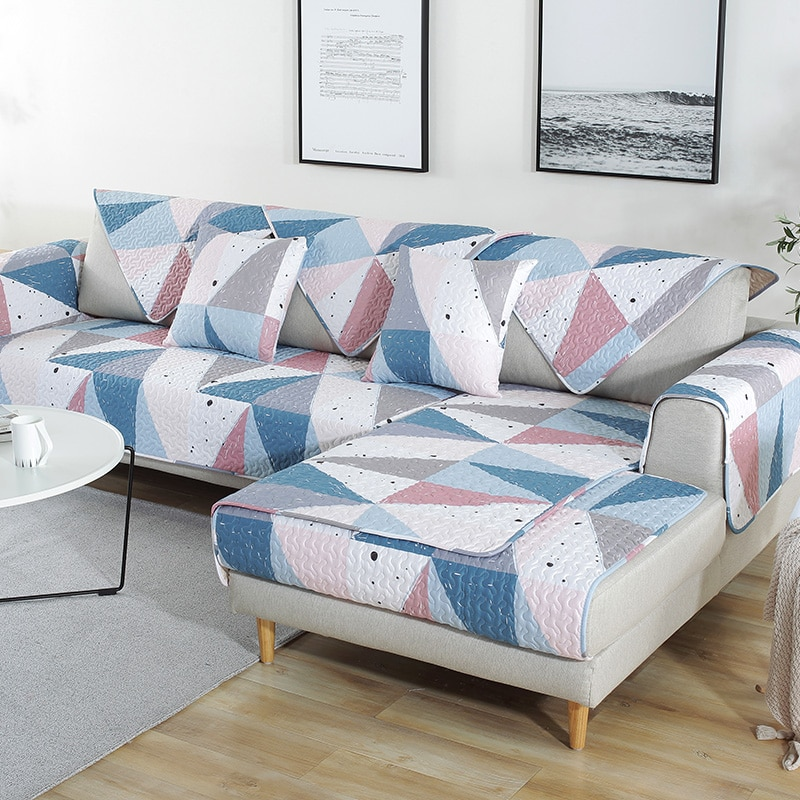 Разноцветный хлопковый нескользящий чехол для дивана с геометрическим рисунком и стразами, L-образные Чехлы для дивана, стула, коврики для гостиной/гостиной