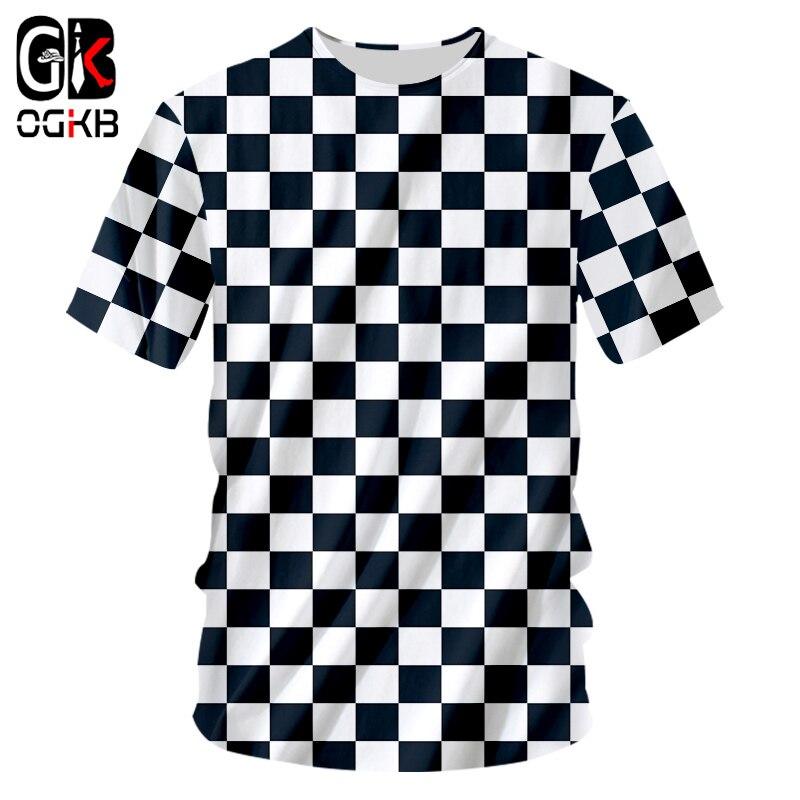 OGKB Summer Tops Men Casual Tshirt Cool Print Black White Grid 3D T-shirt Man Hiphop Short Sleeve O Neck Tee Shirts Dropshipping