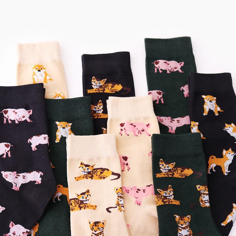 PEONFLY lindo Animal Piggy/gato/Pug diseño medias divertidas para Mujer creativo Harajuku Kawaii Sokken Japón Calcetines Mujer