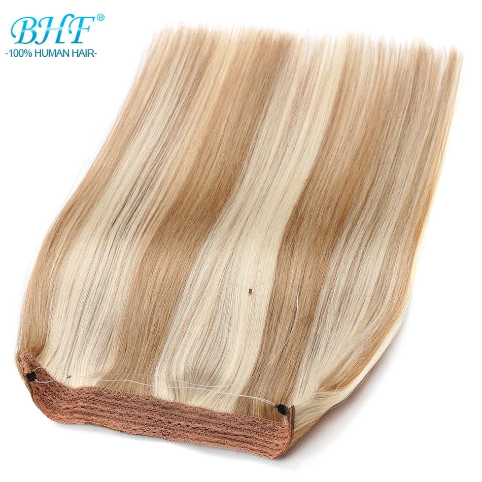 bhf fio de linha de peixe cabelo humano reto europeu remy sem grampo extensoes de