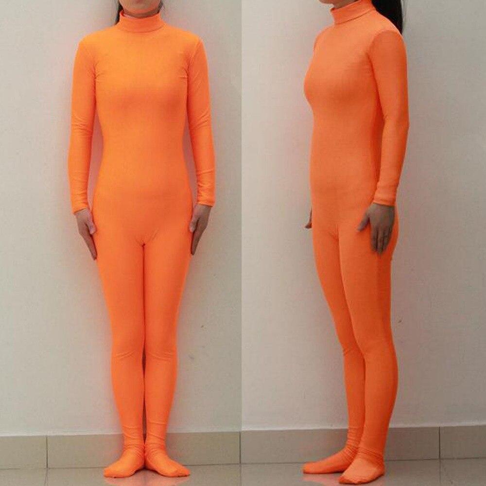 (LBS009) Sexy Lycra Spandex naranja Unisex leotardo de fiesta Catsuit de Halloween Cosplay traje fetiche Zentai trajes desgaste