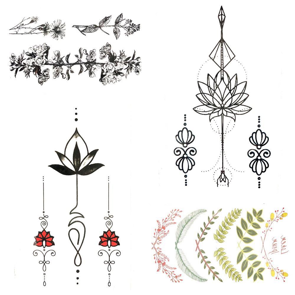 Pegatinas de tatuaje impermeables para mujeres, colgante negro, pulsera de Buda de loto, tatuaje de chica temporal, arte corporal de pecho, Tatuaje falso, calcomanía de mano