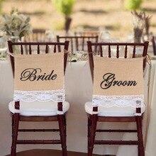 Bruidegom Bruid Stoel Borden Jute Kant Banner Garland voor Bruiloft Decoratie Jute Hessische Fotografie Props DIY Materialen