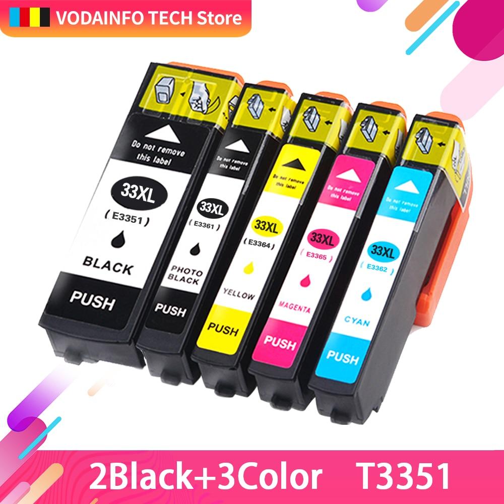 5 pcs 33XL T3351 T3361 T3362 T3363 T3364 cartucho de tinta Compatível para Epson XP-530 XP-630 XP-830 XP-635 XP-540 XP-640 XP-645