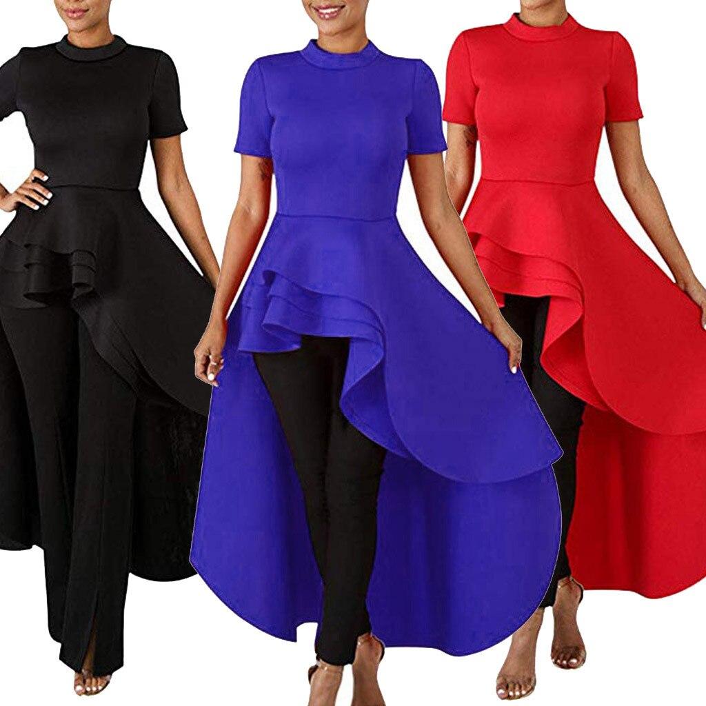 Dress Women - Ruffle High Low Tops for Short Sleeve Bodycon Dress Shirt Dresses Vestidos Sukienka платье dropshipping ##0
