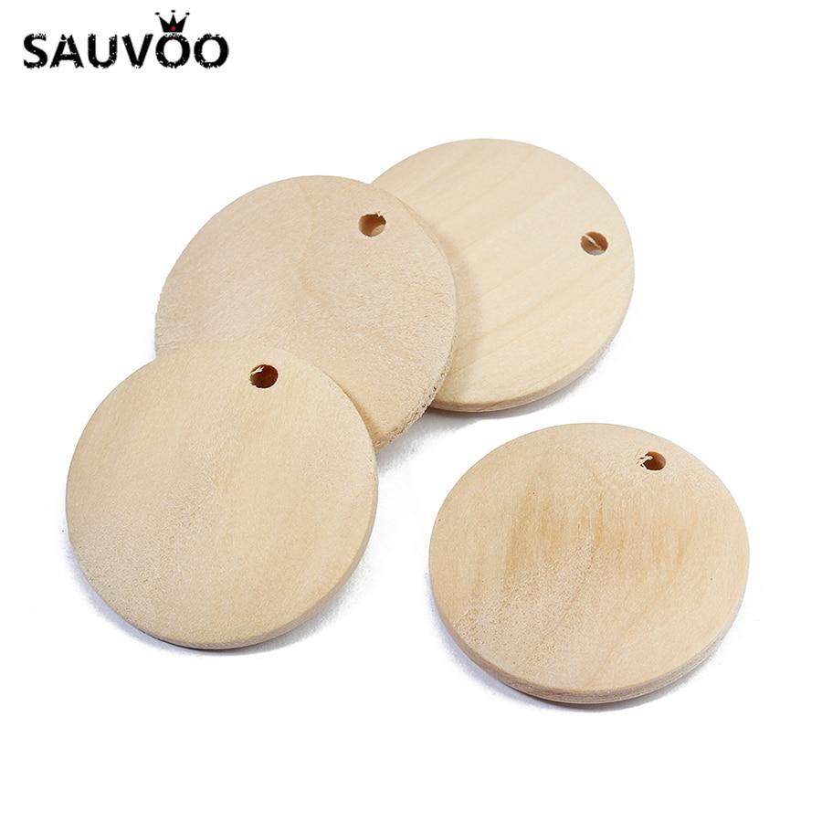 Sauvoo 10 pçs de madeira redonda pingente diâmetro 25mm 30mm 35mm 45mm 50mm com furo para colar pulseira encantos diy jóias descobertas