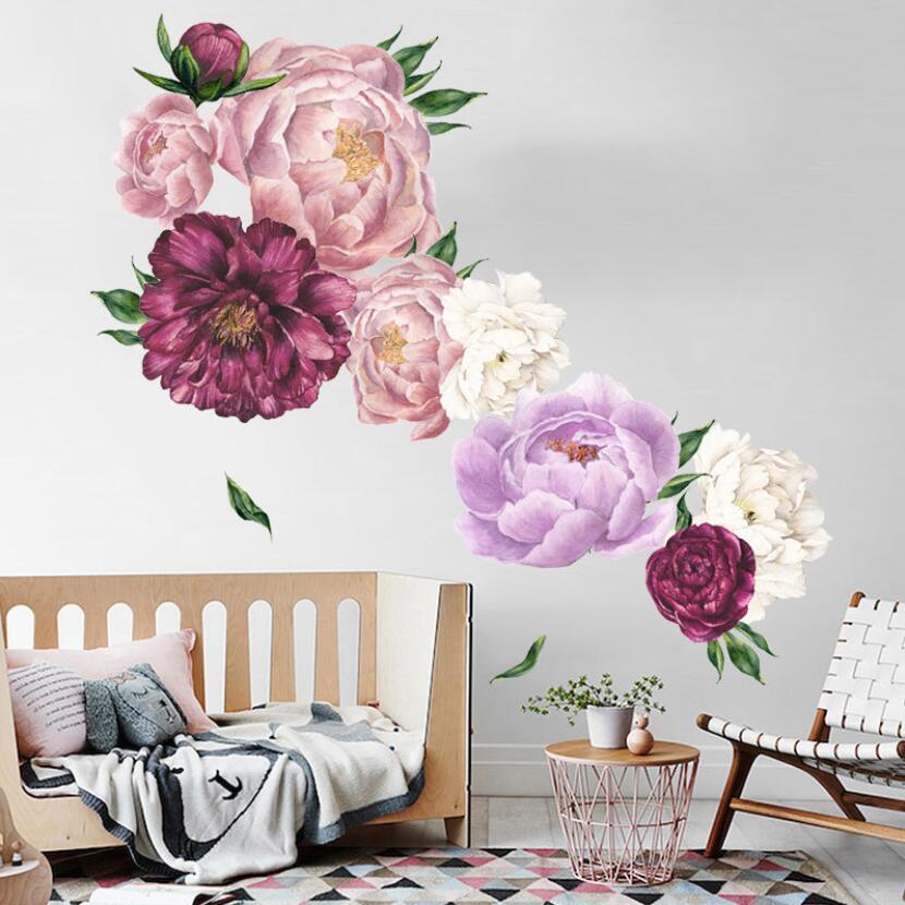 Pegatina de peonía elegante flor 3d muebles de pared decoración de dormitorio Pegatinas de Muur decoración de la casa diy Mural Floral Pegatinas W198